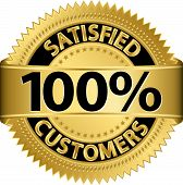 foto of 100 percent  - 100 percent satisfied customers golden label - JPG