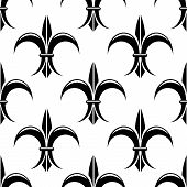 Black and white fleur de lys seamless pattern
