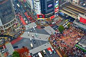 TOKYO, JAPAN - DECEMBER 15, 2012:  Traffic passes through Shibuya Crossing. The intersection is cons