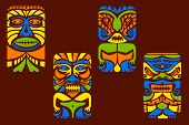 stock photo of tiki  - easy to edit vector illustration of tiki mask - JPG