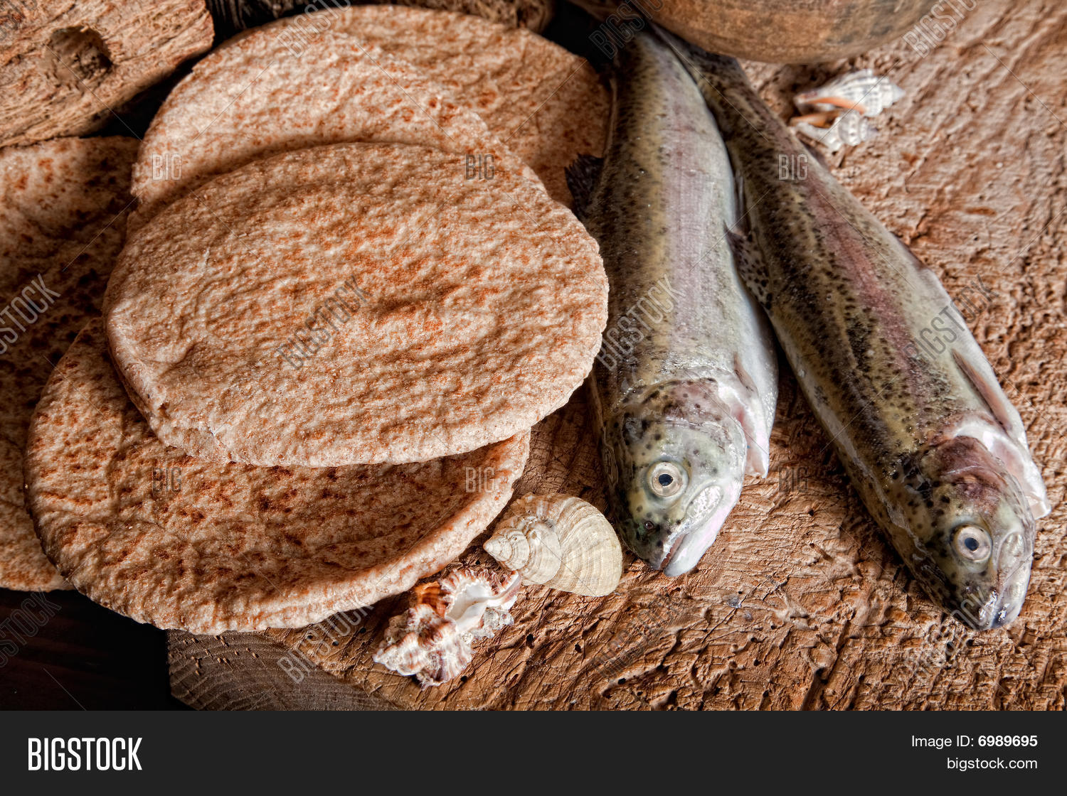 Five loaves of bread and two fish stock photo stock for Five loaves two fish