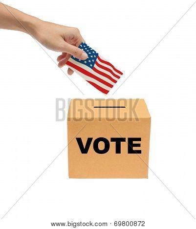 Hand Putting A Voting Bollot Into The Box Isolated On White Background.