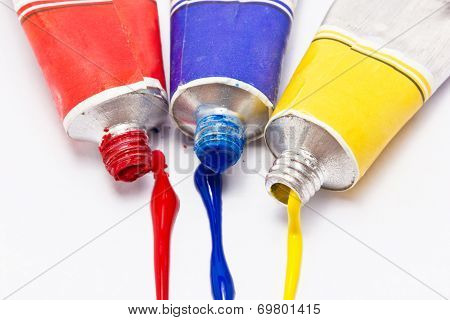 Primary Color Water Painted Isolated On White Background.