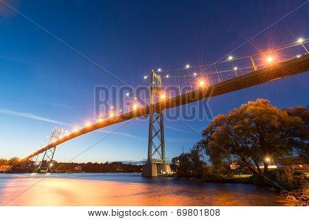 Thousand Islands Bridge At Night