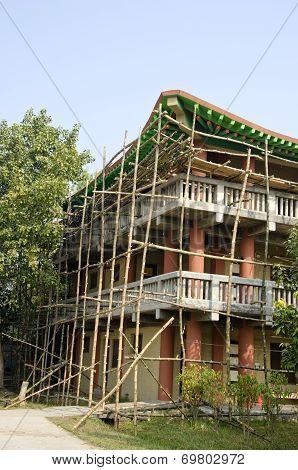 Wooden Bamboo Scaffold In Lumbini, Nepal