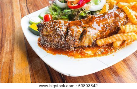 Steak Barbecue Pork  Spareribs