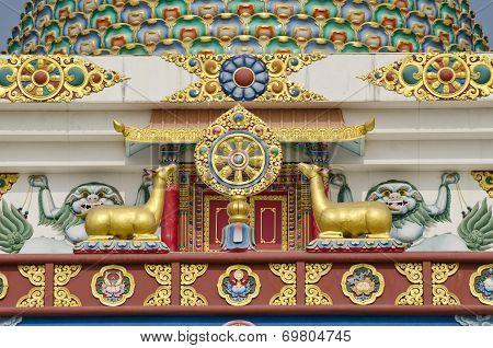 Buddhist Symbols Art On Temple In Lumbini, Nepal