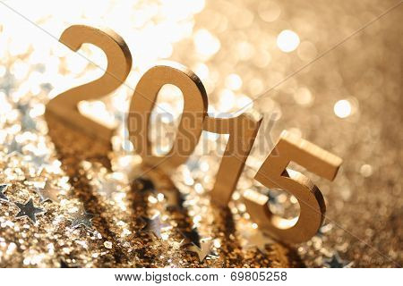 New year decoration,Closeup on 2015.
