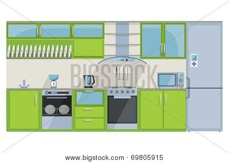 Green Kitchen on a white background