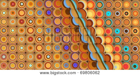 3D Abstract Tiled Mosaic Background In Yellow Blue Orange