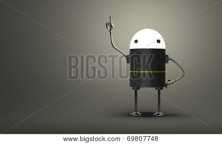 Robot With Glowing Head In Moment Of Insight