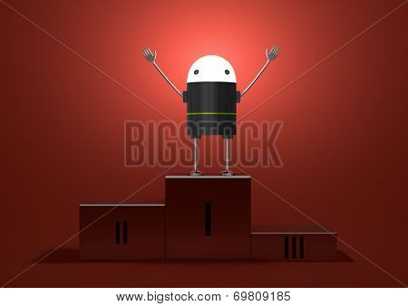 Triumphant Robot With Glowing Head On Podium