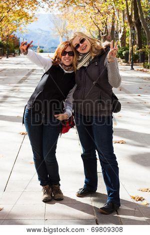 Happy Women In Park