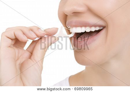 Woman And Teeth Floss (toothpick)