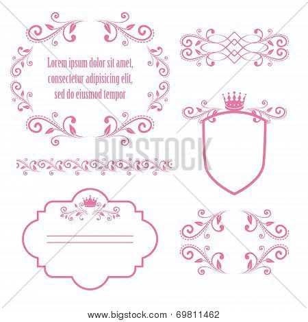 set of pink floral frames with crowns