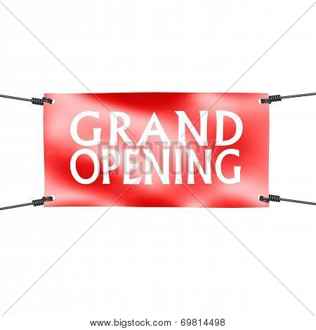 Banner Grand Opening With Four Ropes On The Corner