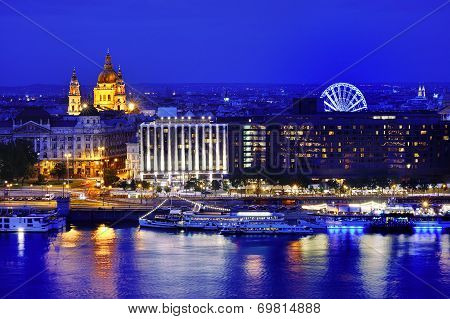 Budapest Panoramic View At Blue Hour, Hungary, Europe