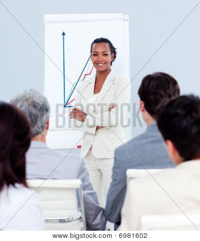 Attractive Businesswoman Doing A Presentation
