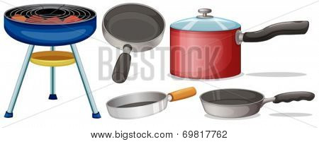 Illustration of different cooking equipment