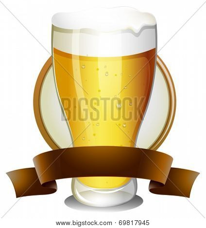 Illustration of a glass of beer with lable