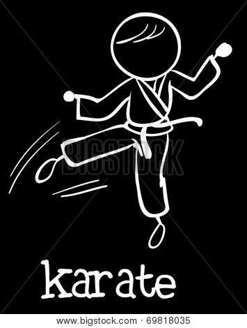 Illustration of stickman doing karate