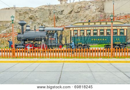 MOLLENDO, PERU, MAY 19, 2014 - Ferro Carilles del Sur train and wax statues of rail workers in open air museum