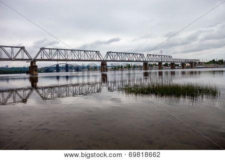 Petrivskiy Railroad Bridge In Kyiv (ukraine) Across The Dnieper River