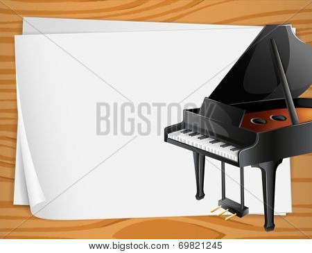 Illustration of a piano on the side of a banner