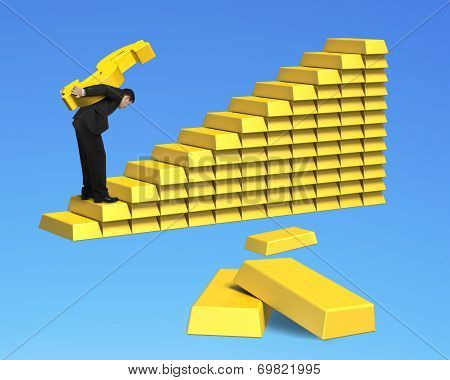 Businessman Carrying Gold Dollar Up Stack Of Bullion Stairs