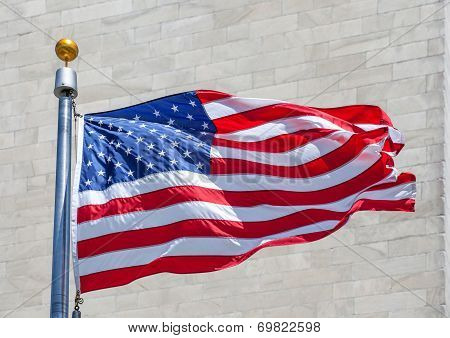 American Flag In A Strong Wind In Usa