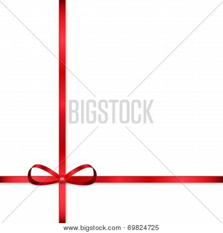 Red Bow For Decorating Gifts Isolated On White Background