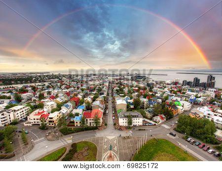 Reykjavik Cityspace With Rainbow