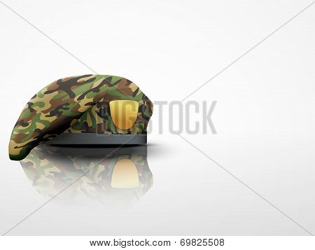 Light Background Military Camo Beret Special Forces