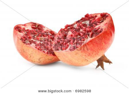 Ripe Pomegranate Fruit On White