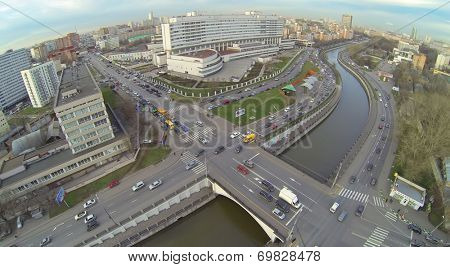 MOSCOW, RUSSIA - NOVEMBER 19, 2013: Palace of Culture named after Bauman located on the embankment of the river Jauza, aerial view. Palace of Culture - a modern cultural complex built in 2004
