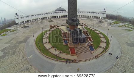 MOSCOW, RUSSIA - NOV 22, 2013: Statue of St. George and main building of museum of Great Patriotic War on Poklonnaya Hill, aerial view. Statue opened May 9, 1995 as part of Victory Memorial Complex