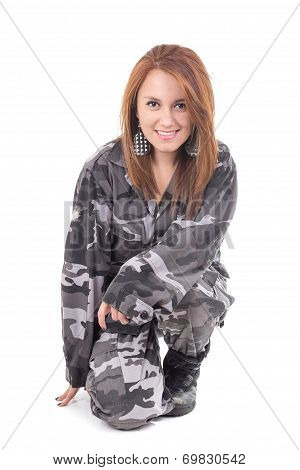 Pretty young girl wearing military uniform