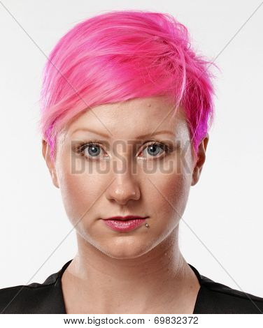 Pink hair woman punk portrait.Punk girl.