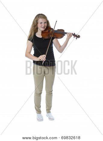 Young Teenage Girl Playing The Violin