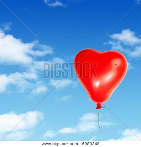 One Red Heart Detailed Balloon Isolated On White Background With Clipping Path
