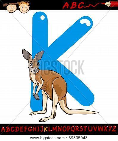 Letter K For Kangaroo Cartoon Illustration