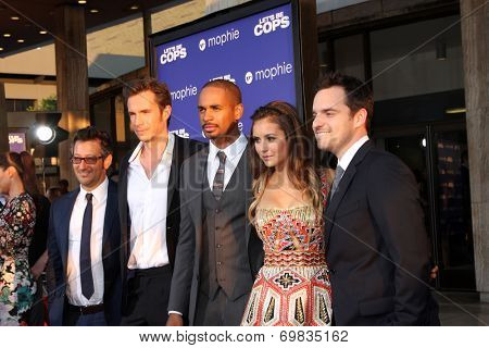 LOS ANGELES - AUG 7:  Luke Greenfield, James D'Arcy, Damon Wayans Jr, Nina Dobrev, Jake Johnson at the