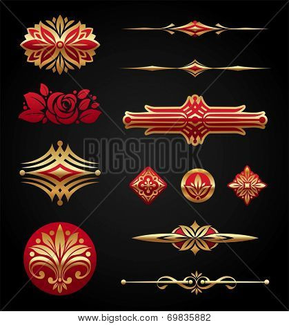 Red & gold luxury design elements