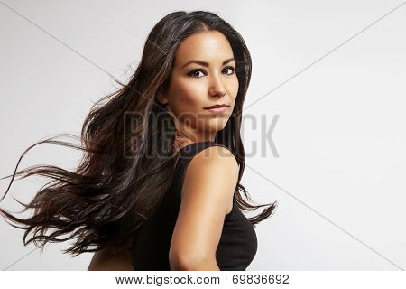 Latin Woman With Blowing Hair