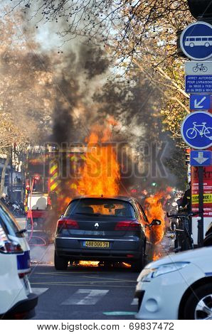 Car on Fire in the Streets of Paris