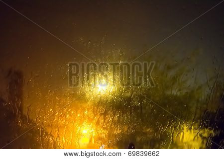 Rain On Glass At Night