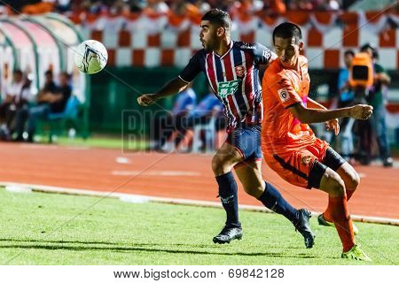 Sisaket Thailand-august 3: Otman Djellilahine Of Bec Tero Sasana Fc. (blue) In Action During Thai Pr