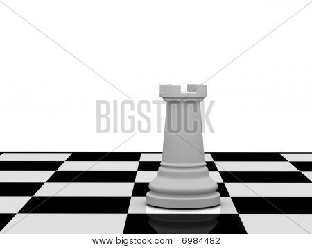 White Chess Rook On Chessboard