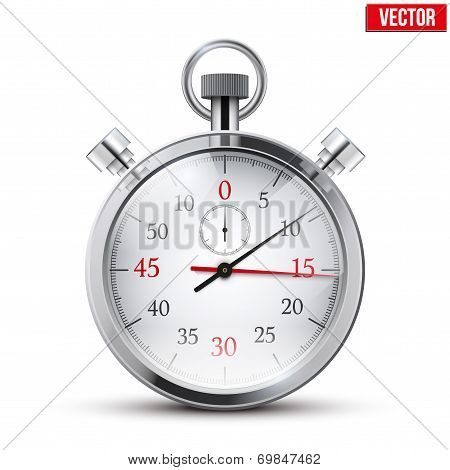Realistic shine analog stop watch. Vector illustration.