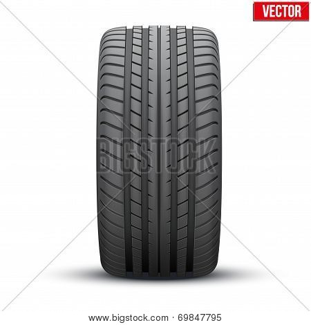 Realistic rubber tire symbol. Vector Illustration